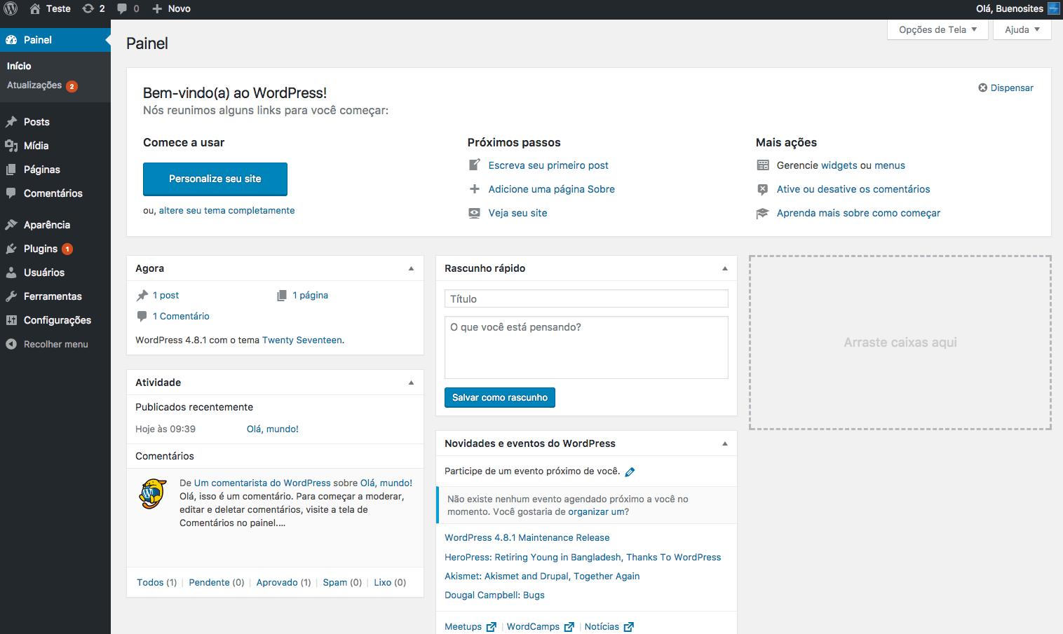 WordPress como gerenciador de Conteúdo - Painel Admin - Buenosites